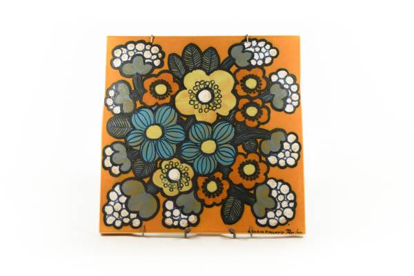 北欧雑貨 フィンランド ARABIA アラビア ビンテージ Raija Uosikkinen黄色い色花の陶板